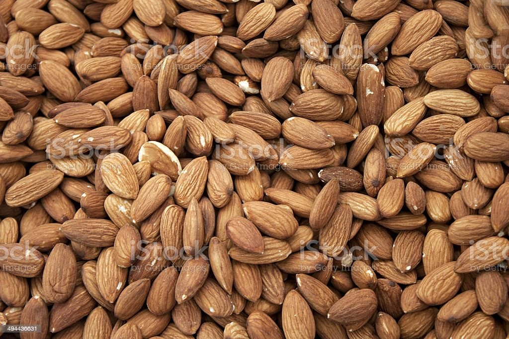 Stacks of almond nuts royalty-free stock photo