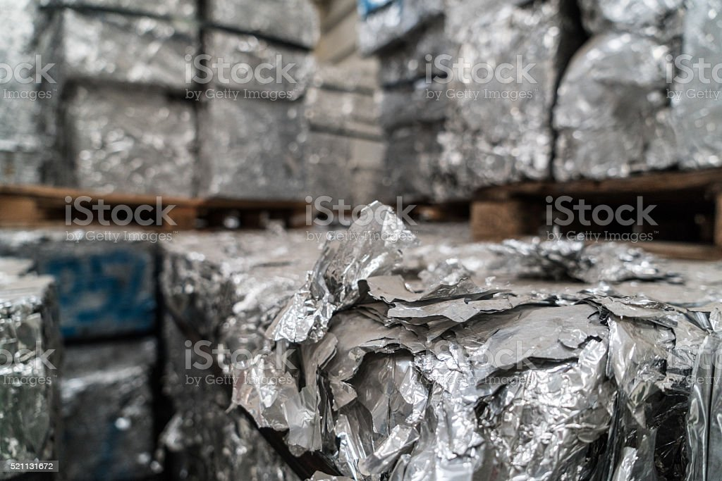 Stacks of aluminium blocks at recycling yard stock photo