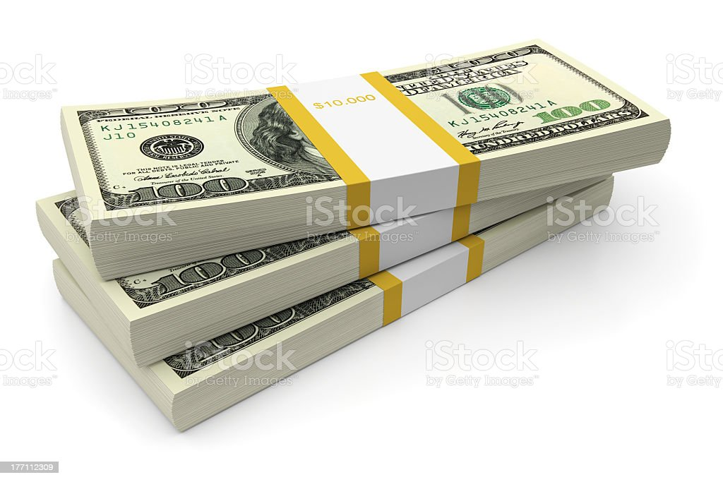 Stacks of American currency one hundred dollar bills stock photo