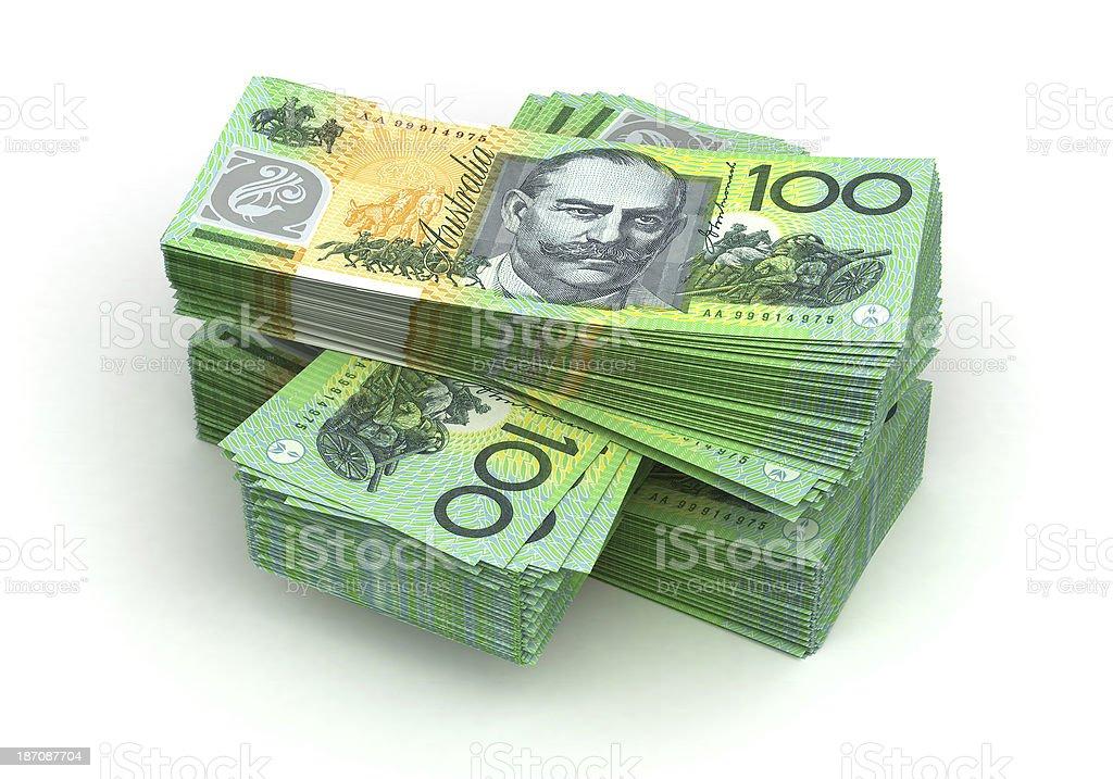 Stacks of Australian dollar bills stock photo