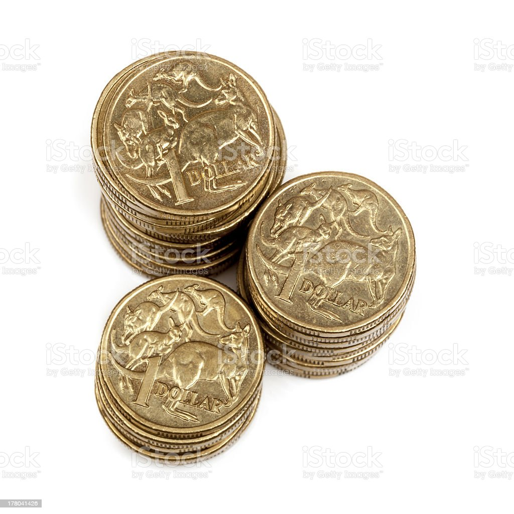 Stacks of Australian One Dollar Coins royalty-free stock photo