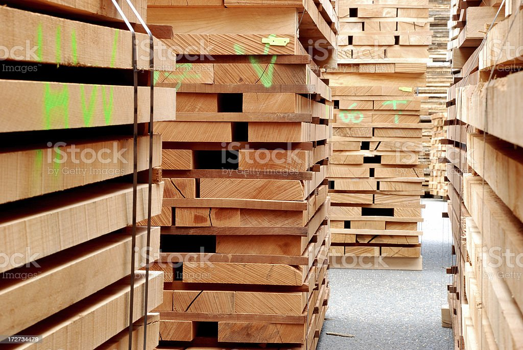 Stacks of beech boards royalty-free stock photo