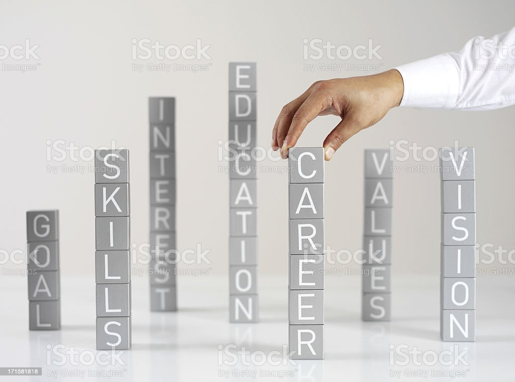 Stacks of blocks showing career values royalty-free stock photo