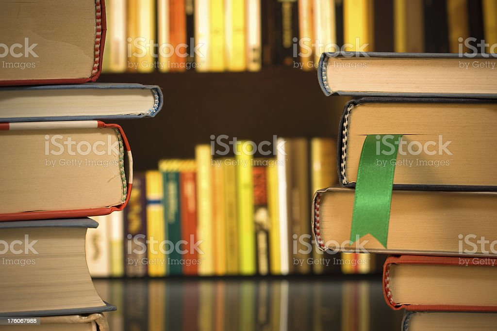 Stacks of books about investing royalty-free stock photo