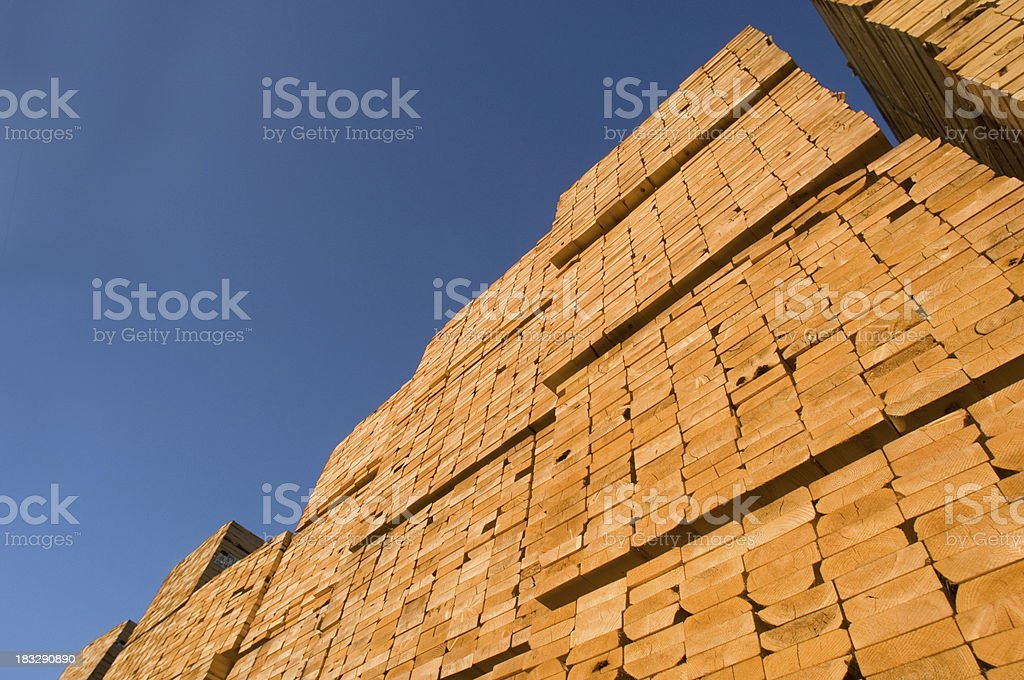 Stacks of Building Lumber stock photo