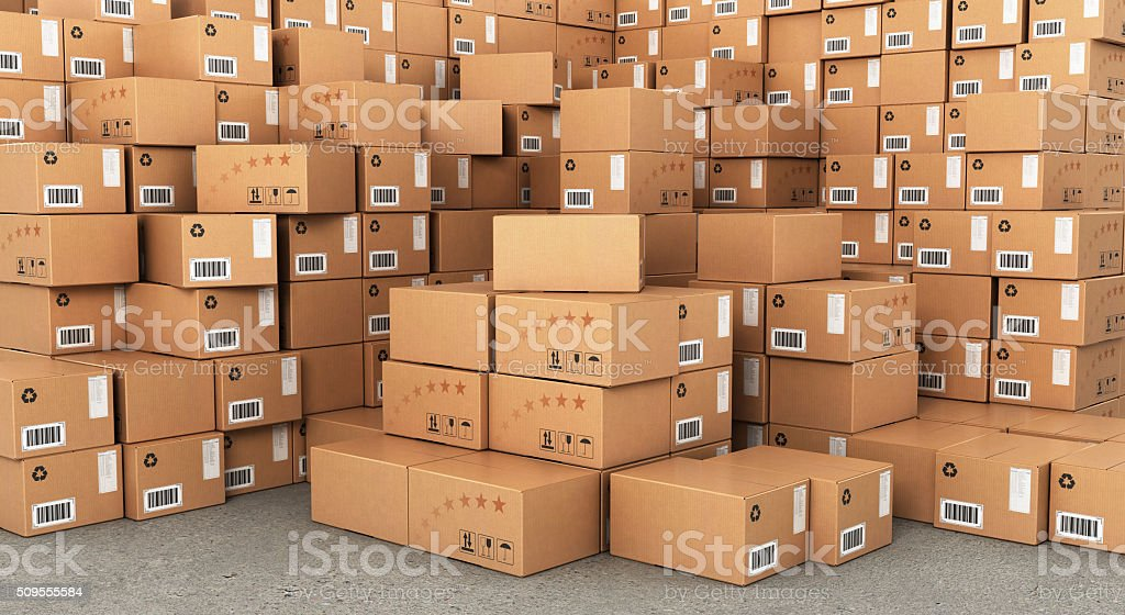 Stacks of Cardboard Boxes, stock photo