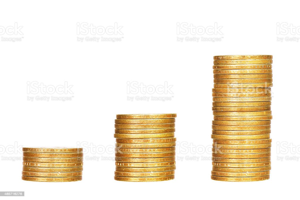 Stacks of coins isolated on white stock photo