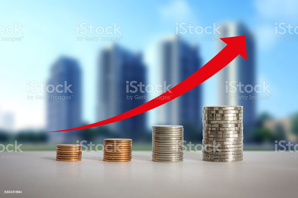 Stacks of coins. stock photo