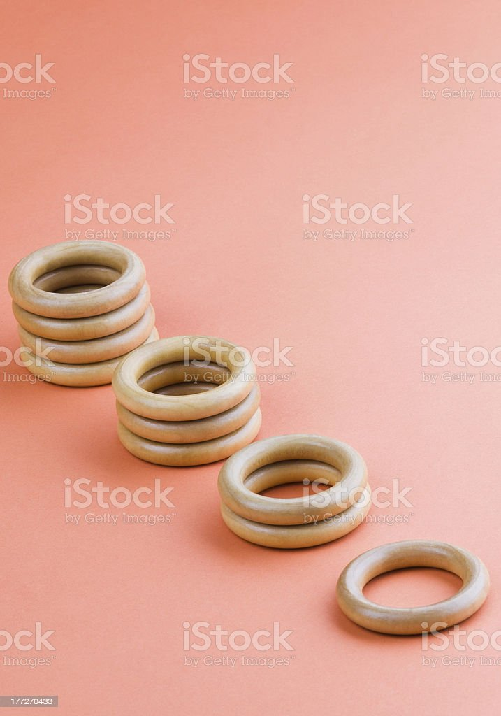 Stacks of curtain rings royalty-free stock photo