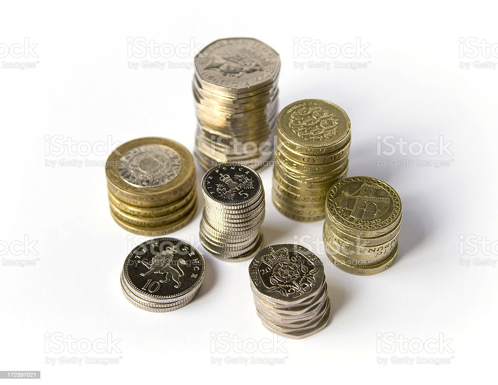 Stacks of different British coins. royalty-free stock photo