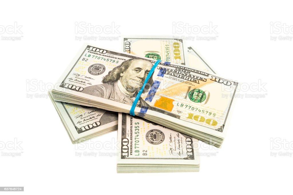 Stacks of dollars isolated stock photo