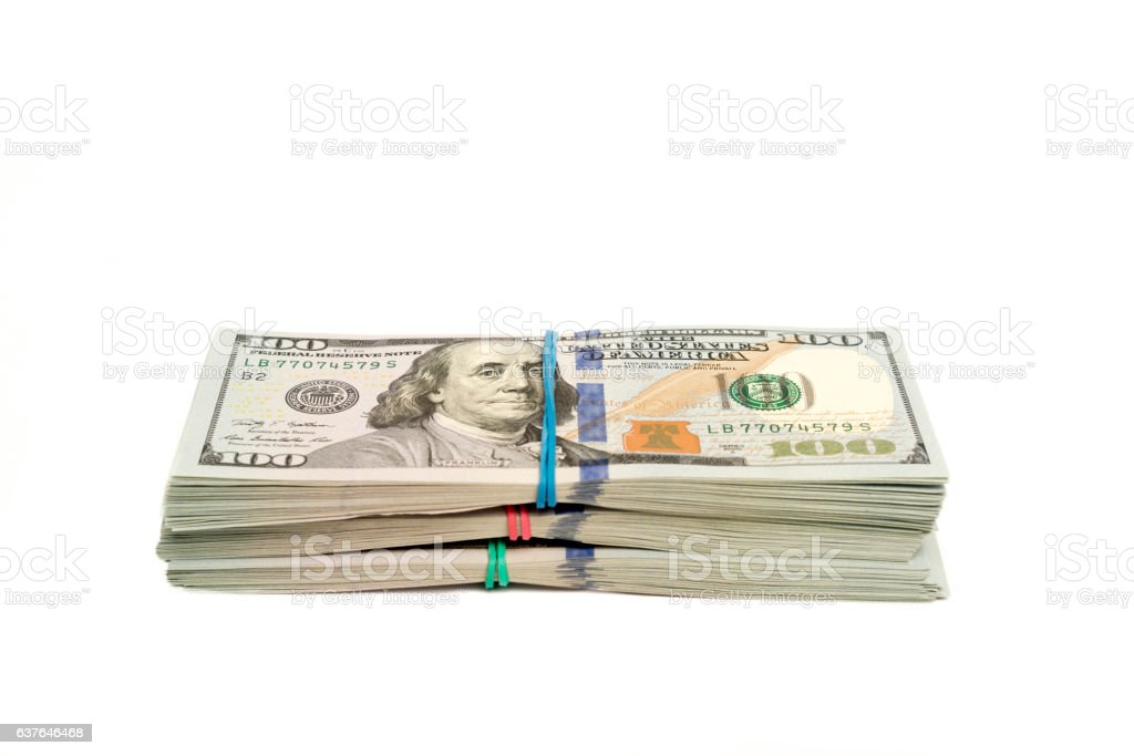 Stacks of dollars isolated with copy space stock photo
