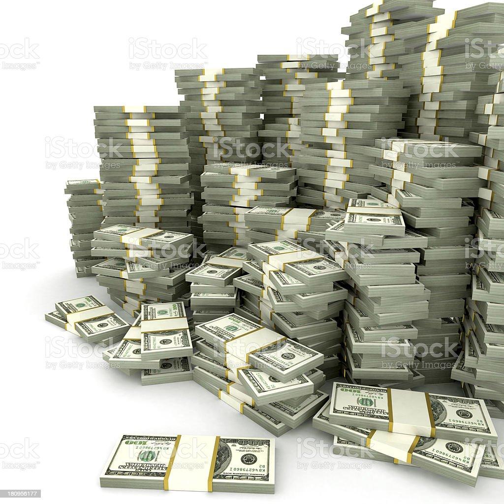 Stacks of dollars stock photo
