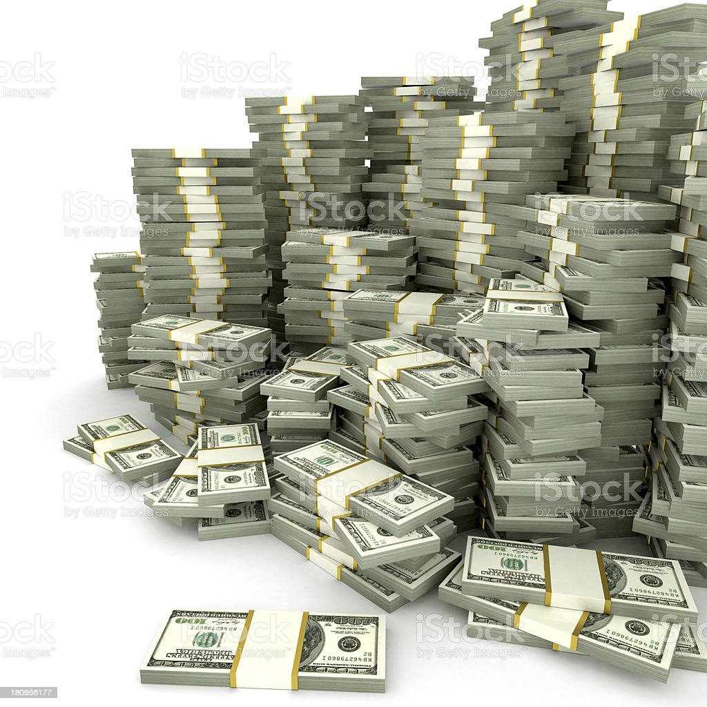 Stacks of dollars stock photo