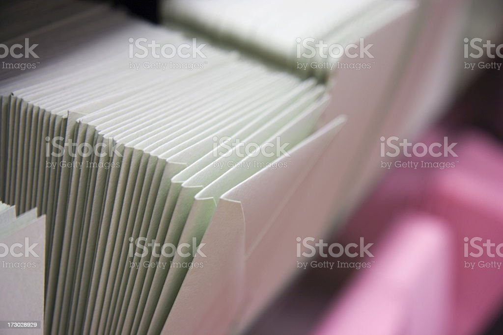 Stacks of envelopes ready to be mailed stock photo