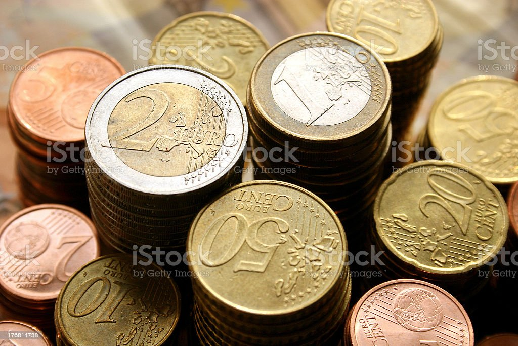 Stacks of Euro coins royalty-free stock photo