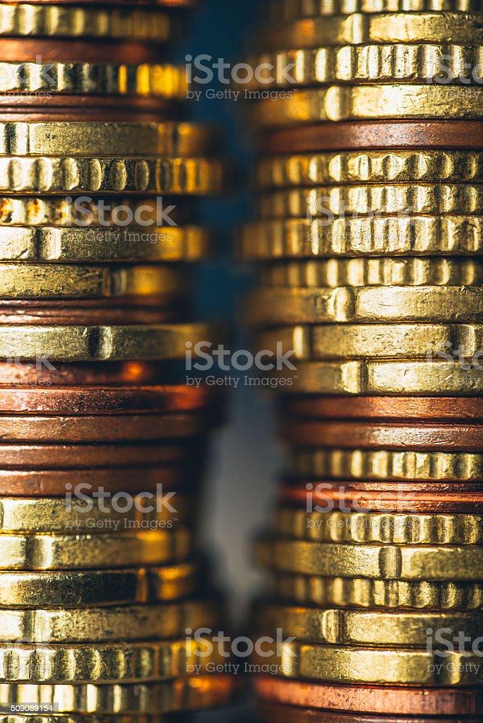 Stacks of euro coins stock photo