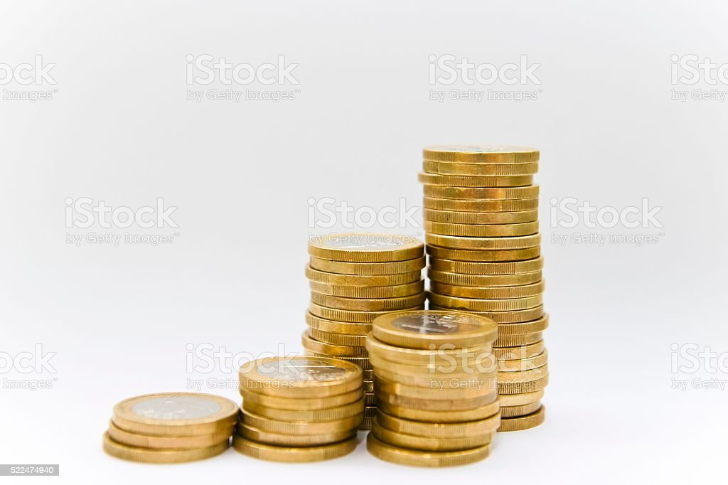 Stacks of Euro Coins stock photo