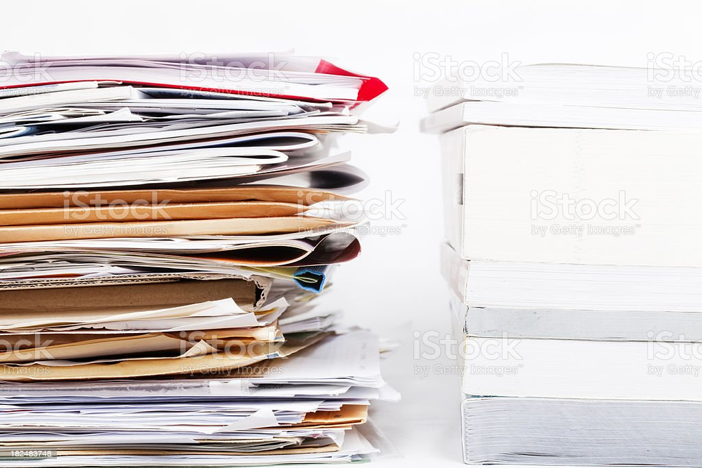 stacks of files, papers and brochures royalty-free stock photo