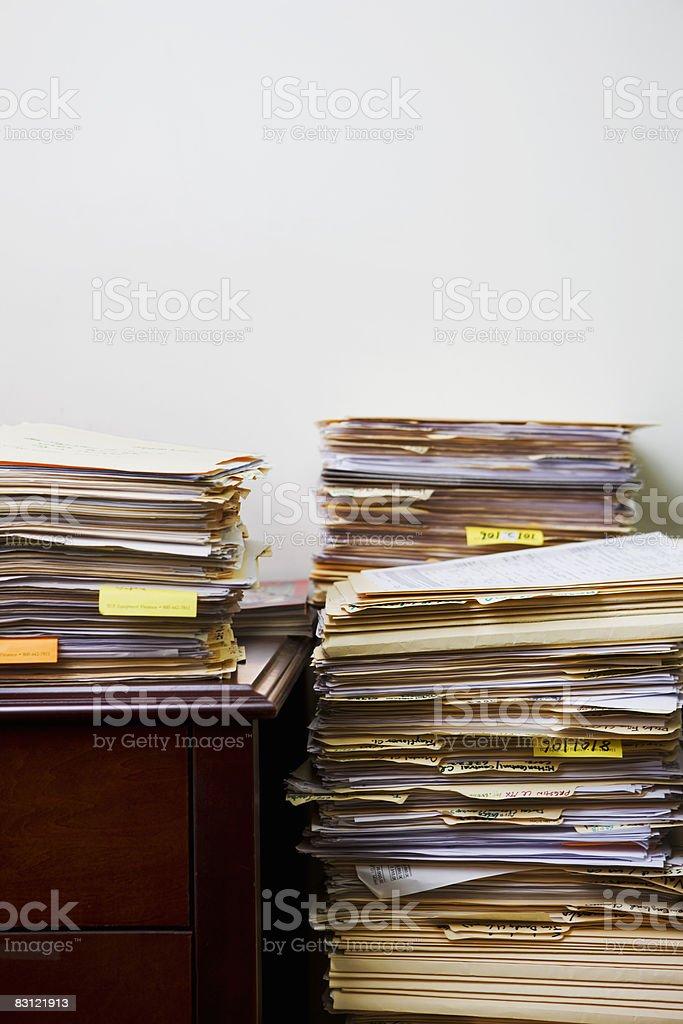 stacks of files stock photo