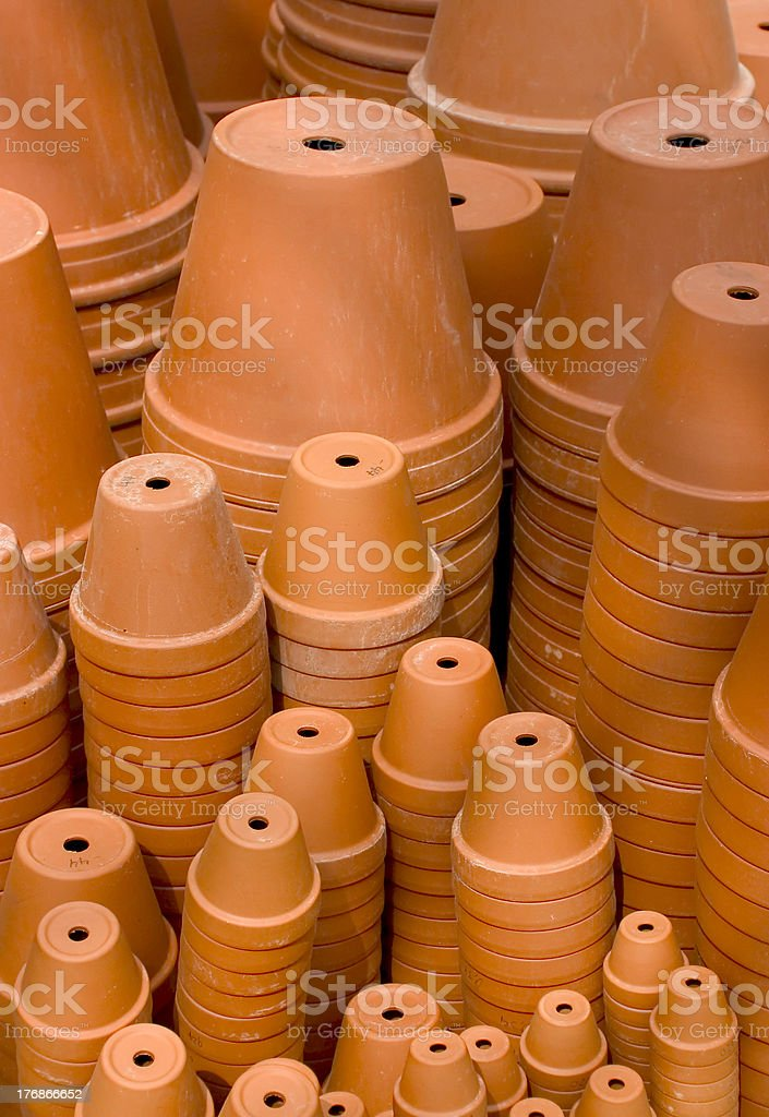 Stacks  of flowerpots royalty-free stock photo