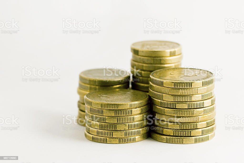 Stacks of gold Australian coins stock photo