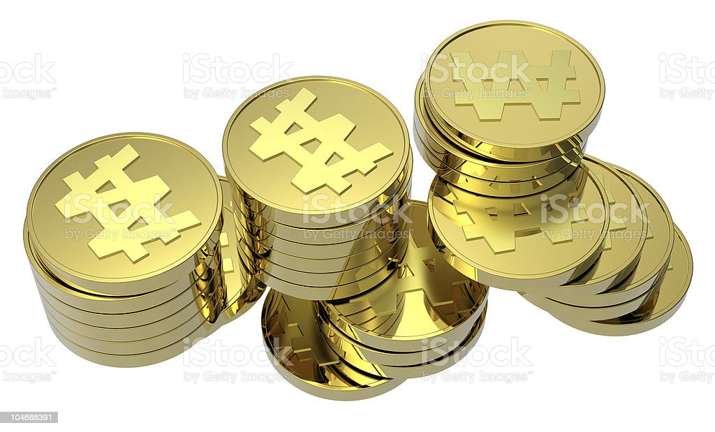 Stacks of gold coins isolated on a white background stock photo