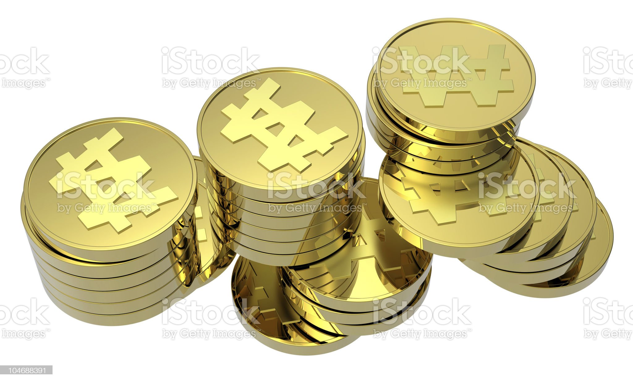 Stacks of gold coins isolated on a white background royalty-free stock vector art