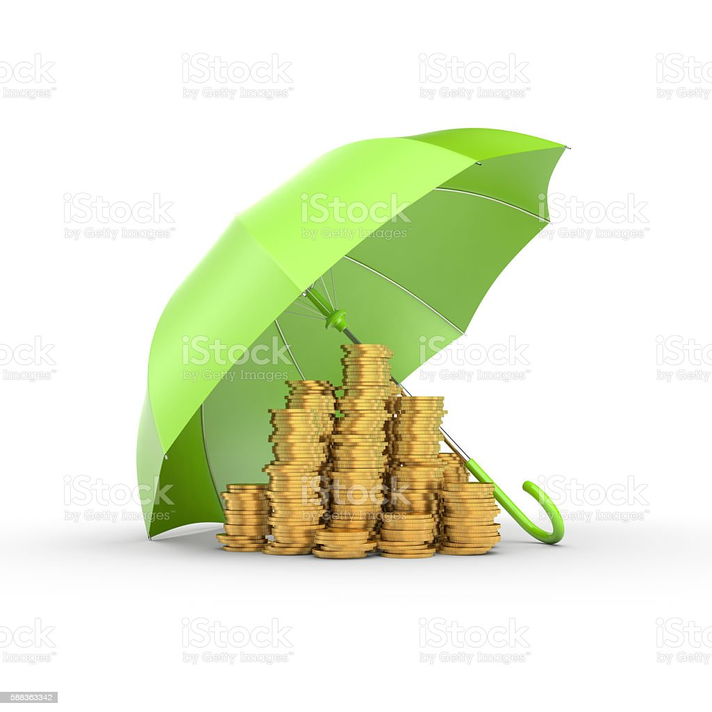 Stacks of gold coins under the green umbrella. royalty-free stock photo