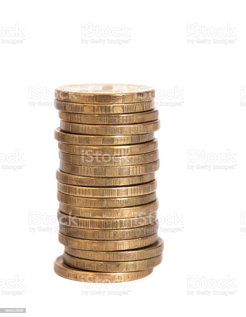 stacks of golden coins isolated on white stock photo
