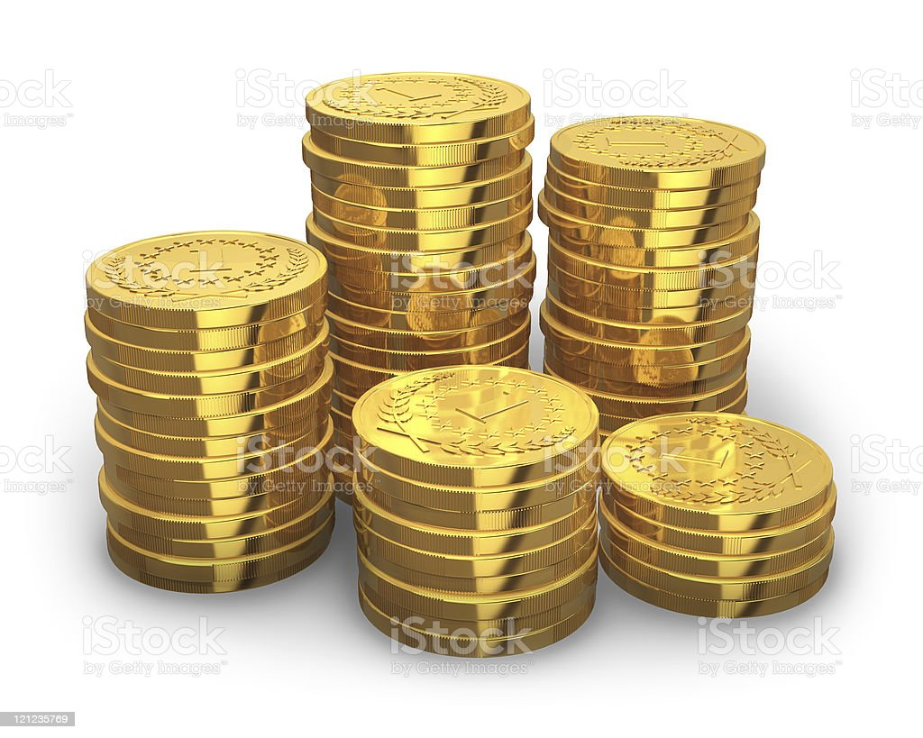 Stacks of golden coins stock photo