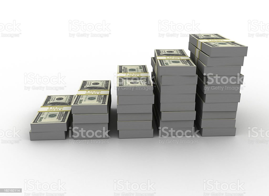 Stacks of green money bills increasing in size stock photo