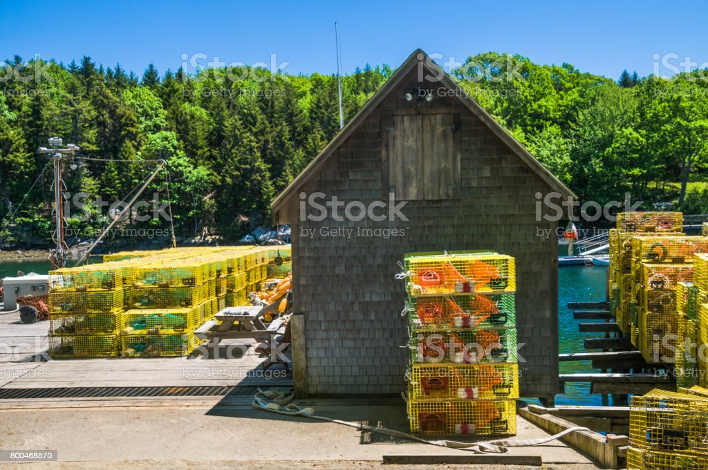 Stacks of Lobster Traps stock photo