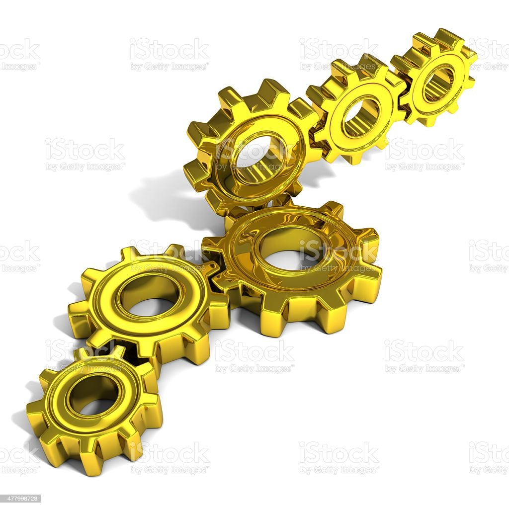 Stacks of metal gear wheels, 3D concept, isolated stock photo