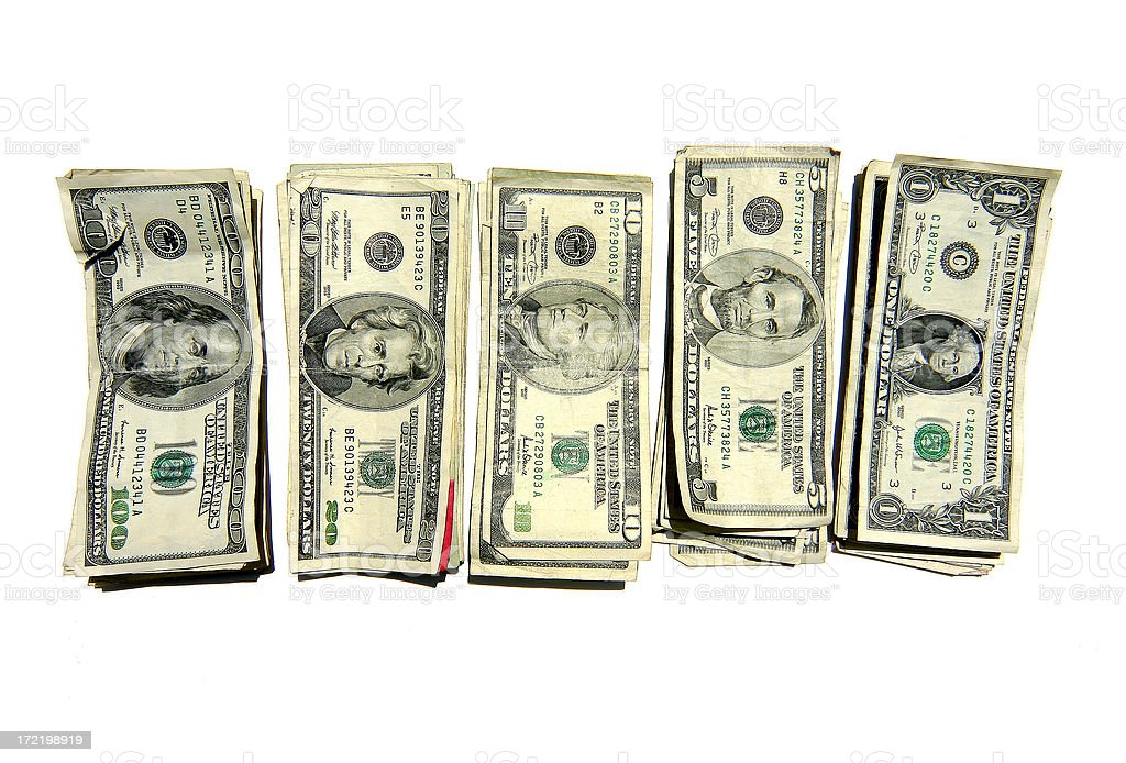 Stacks of Money - Register Style stock photo