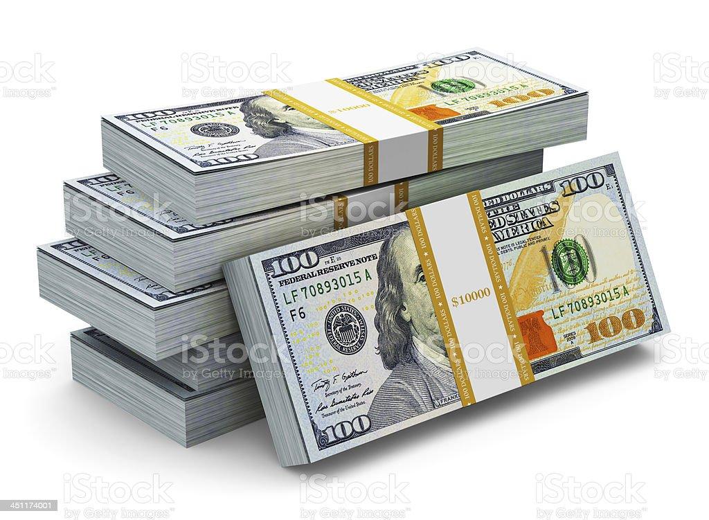 Stacks of new 100 US dollar banknotes stock photo