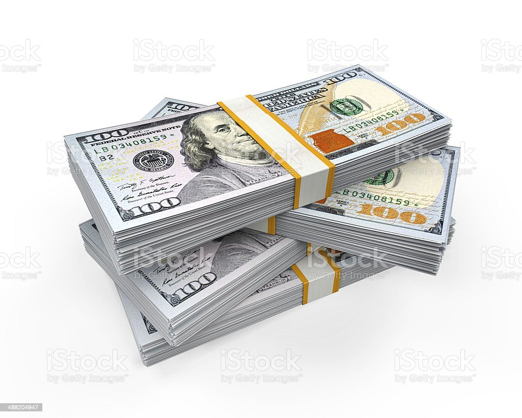 Stacks of New 100 US Dollar Banknotes stock photo