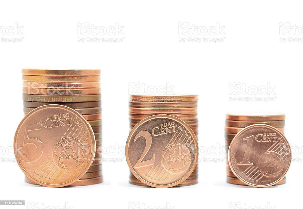 Stacks of one, two and five euro cent coins stock photo