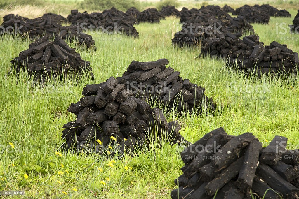 Stacks of peat stock photo