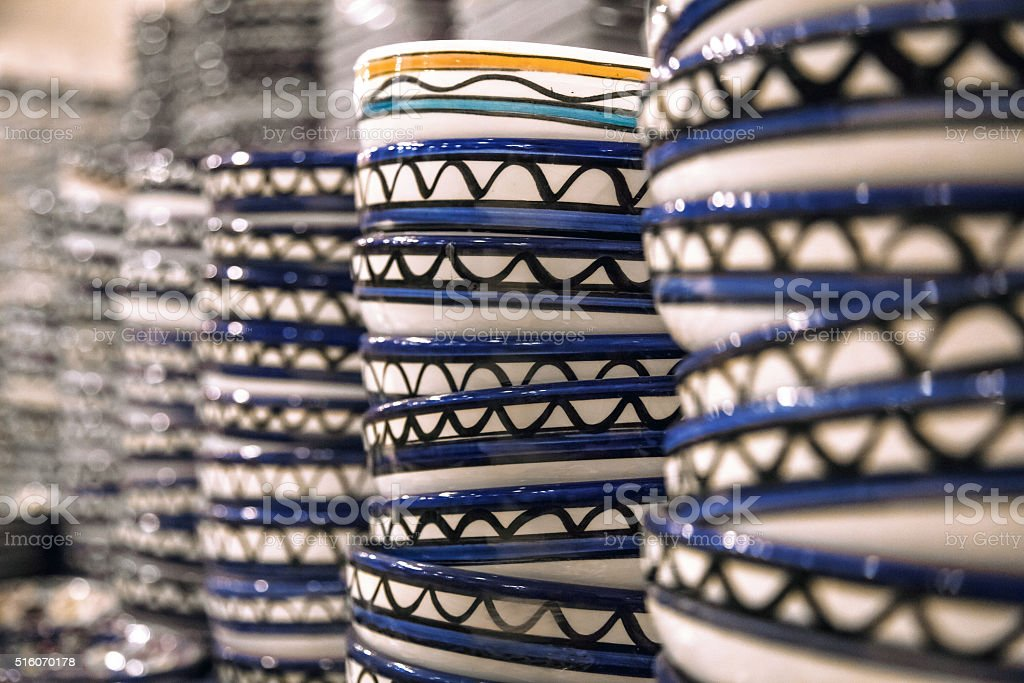 Stacks of plates with the national pattern Jordan stock photo