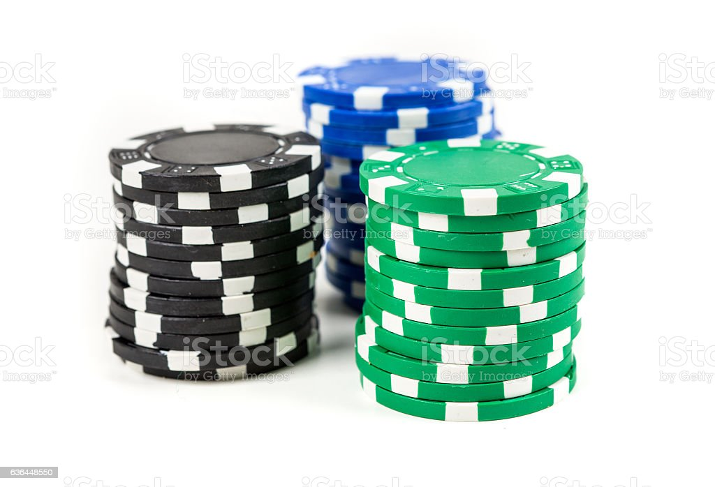 Stacks of poker chips isolated on white background stock photo