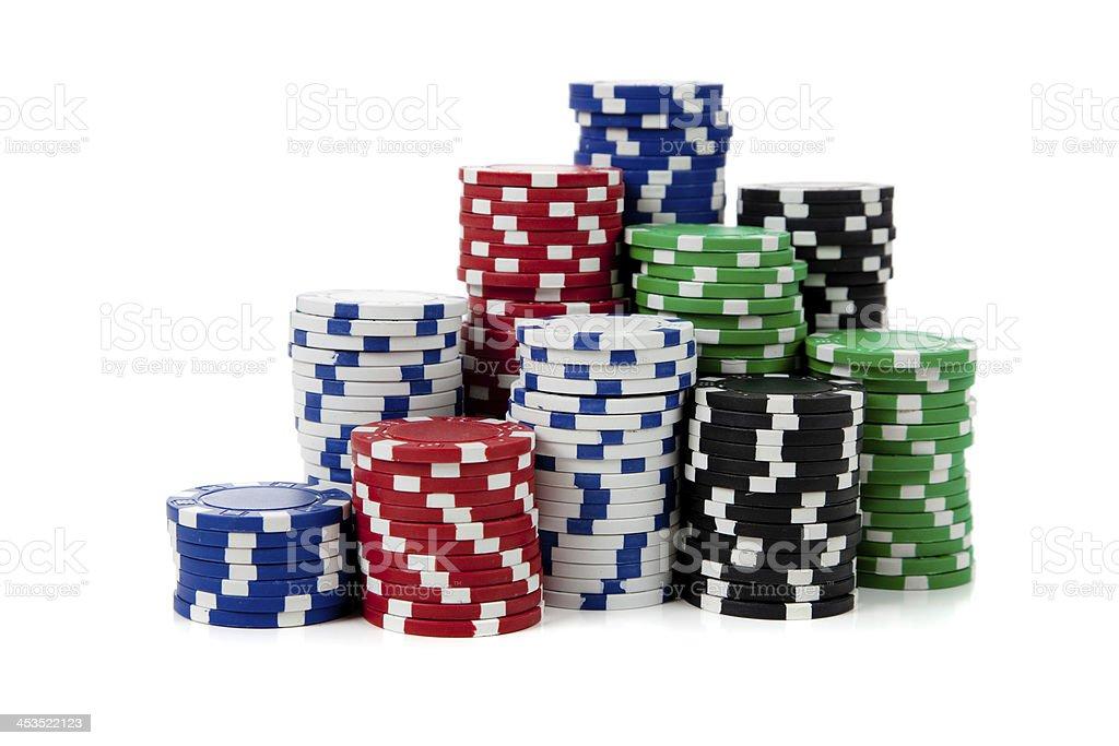 Stacks of poker chips on white stock photo