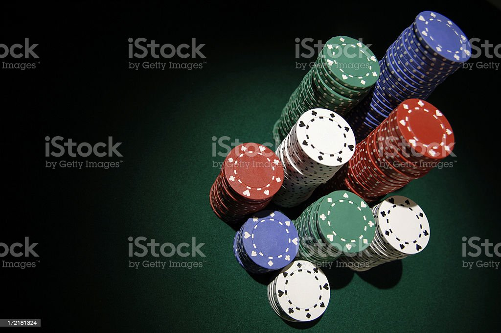stacks of poker chips stock photo
