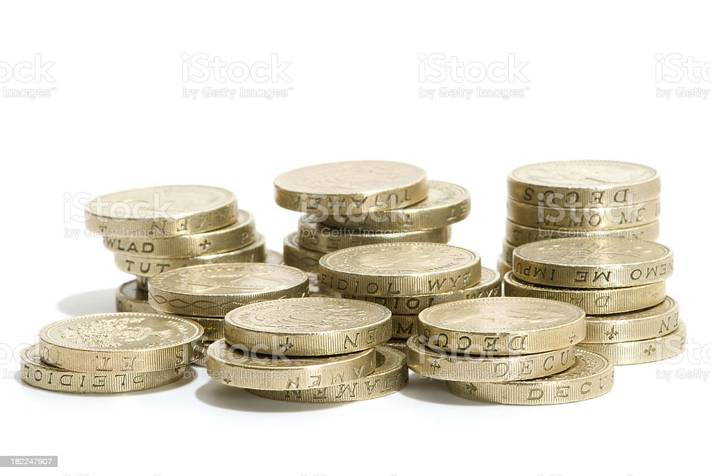 Stacks of pound coins royalty-free stock photo