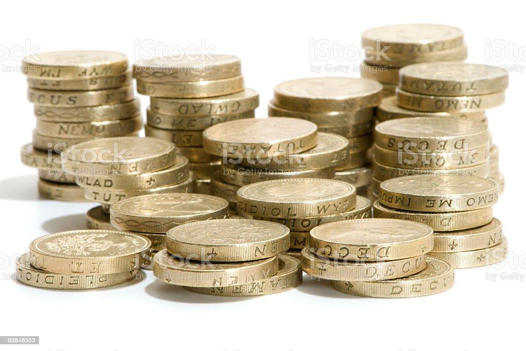 Stacks of pound coins stock photo