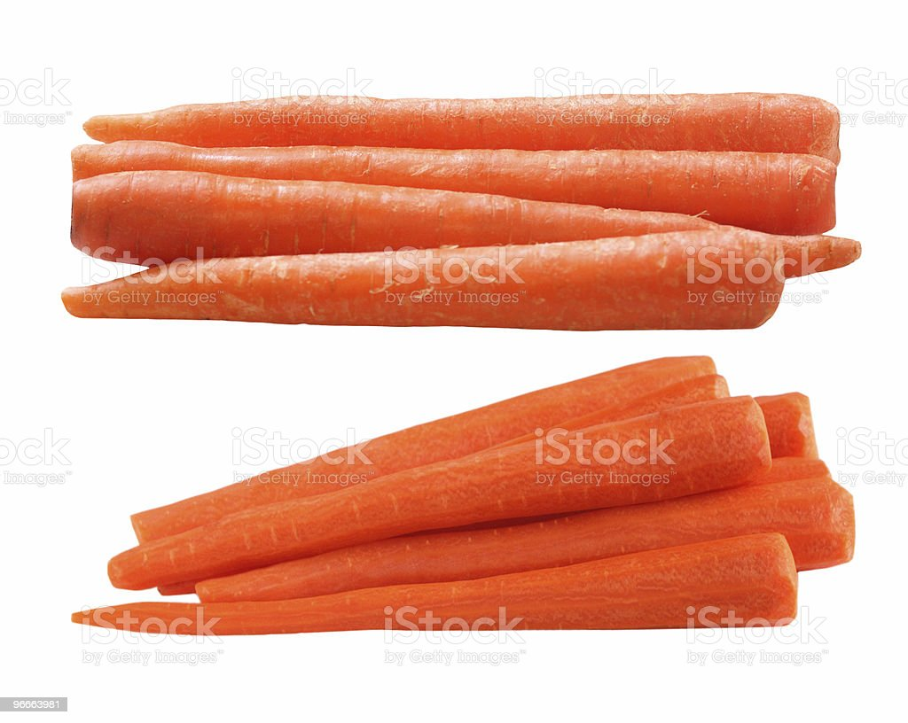 Stacks of raw and sliced carrots stock photo