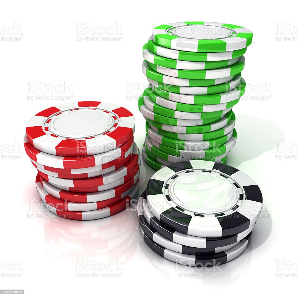 Stacks of red, green and black gambling chips stock photo