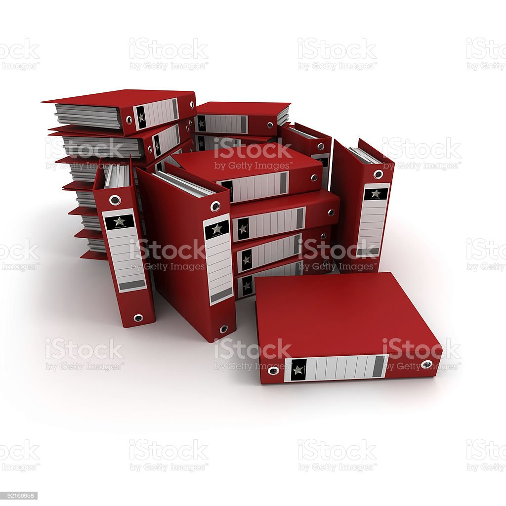 Stacks of red ring binders royalty-free stock photo