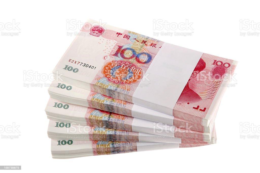 Stacks of Renminbi royalty-free stock photo