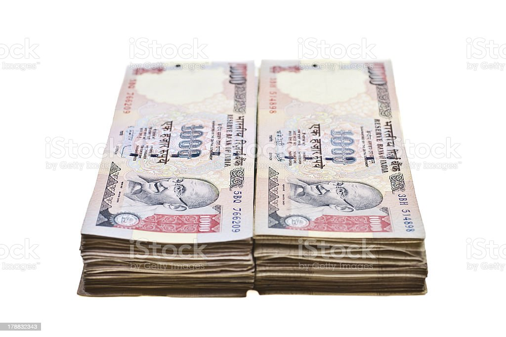 Stacks of Rupees stock photo